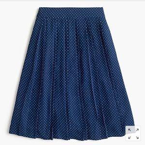 J. Crew Double Pleated Midi Polka Dot Blue Skirt